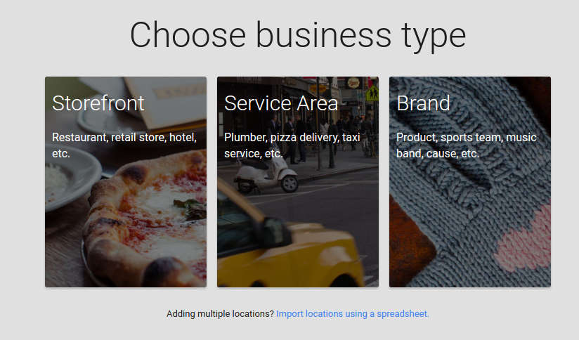 Choose google plus page type for business